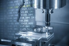 The abstract scene of  3-axis CNC machining centre and the G-code data cutting the injection mold part. The hi-precision CNC milling machine vector illustration