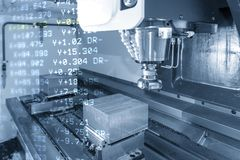 The abstract scene of 3-axis machining center. The abstract scene of 3-axis machining center and the G-code data rough cutting the mould parts.The hi-precision stock illustration