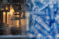 Abstract scene of  blowing bottle process  and raw material. For plastic bottle blowing process .The sample of  injection process Stock Photos