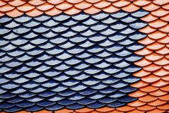 Abstract scene of Brown and Blue earthenware tiles or calls tiles consists of fish scales on the roof of temple bangkok thailand