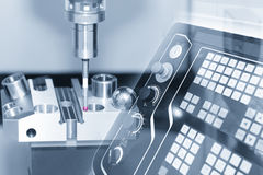 Abstract scene of the Coordinate Measuring Machine CMM. While measure the sample part and the controller panel in light-blue scene stock photo