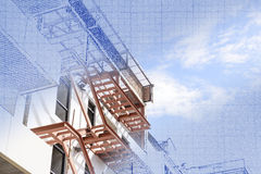 The abstract scene of real and blueprint. Of home building construction Royalty Free Stock Image