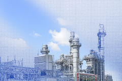 The abstract scene of real and blueprint of power plant. Building construction Stock Images
