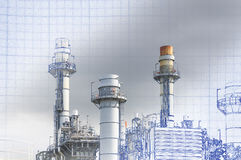 The abstract scene of real and blueprint of power plant. Building construction Royalty Free Stock Images