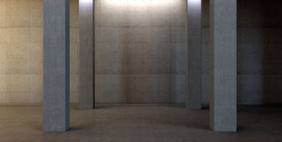 Abstract scene with wall from concrete. 3d abstract scene with wall from concrete how dark parking Stock Image