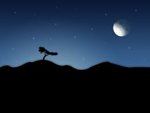 Abstract Scenery. With night sky and moon Royalty Free Stock Images