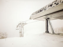 Abstract scenes at ski resort during snow storm Stock Photo