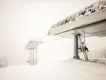 Abstract scenes at ski resort during snow storm Royalty Free Stock Images