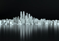 Abstract schematic 3d cityscape. On black background. 3D Illustration. Empty copy space area Royalty Free Stock Photos