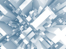 Abstract schematic light blue 3d cityscape, top view. With perspective effect Royalty Free Stock Photos
