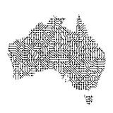 Abstract schematic map of Australia from the black printed board. Chip and radio component of vector illustration Royalty Free Stock Photography