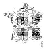Abstract schematic map of France from the black printed board, c. Hip and radio component of vector illustration Royalty Free Stock Images