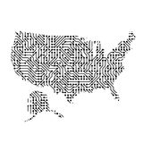 Abstract schematic map of United States of America from the blac. K printed board, chip and radio component of vector illustration Royalty Free Stock Photo
