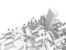 Abstract schematic white 3d cityscape render. Abstract schematic white 3d cityscape with one the highest skyscraper Stock Photo