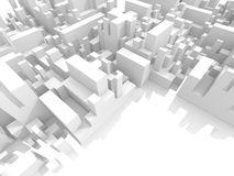 Abstract schematic white 3d cityscape, render. Abstract schematic white 3d cityscape with reserved free space area Stock Photos
