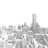 Abstract schematic white 3d cityscape skyline. With one the highest skyscraper  on white Royalty Free Stock Photos