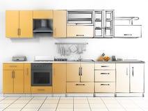 Abstract schetsontwerp van binnenlandse keuken Stock Foto's
