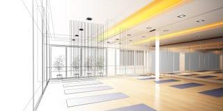 Abstract schetsontwerp van binnenlandse yogaruimte Stock Afbeeldingen