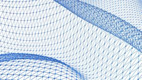 Abstract schoon blauw die 3D net of netwerk golven als prachtige achtergrond Het blauwe geometrische trillende milieu of pulseren royalty-vrije illustratie