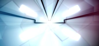 Abstract Sci-fi Technology Tunnel With Bright Lights. 3D Rendering Of Abstract Sci-fi Technology Tunnel With Bright Lights stock illustration