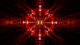 Abstract sci-fi tunnel transformer with glowing neon red orange gold electronic light rotate. 4k looped high-tech background.