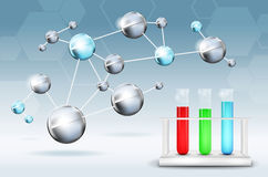 Abstract science background. With molecules and test tubes - illustration Royalty Free Stock Image