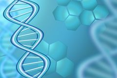 Abstract Science Background In Blue Tone With DNA Strands. Stock illustration royalty free illustration