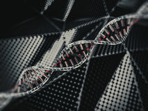 Abstract science background with DNA strands. 3D. Rendering Stock Photo