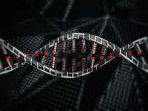 Abstract science background with DNA strands. 3D. Rendering Royalty Free Stock Photo