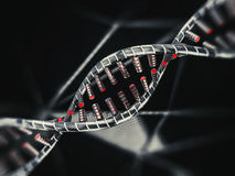 Abstract science background with DNA strands. 3D. Rendering Stock Photos