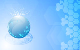 Abstract science globe exploding on blue background Royalty Free Stock Image