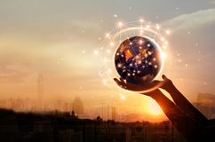 Abstract science, hands touching earth and circle global network royalty free stock photo