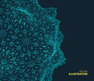 Abstract science or technology background. Graphic design. Network illustration with particle. 3D grid surface. Can be used for wallpaper, presentation, banner royalty free illustration