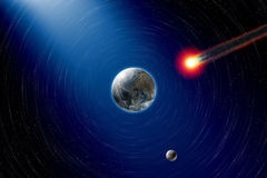 Asteroid impact. Abstract scientific background - asteroid impact planet earth, moon in space. Elements of this image furnished by NASA Stock Image