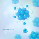 Abstract scientific background with atoms structure. 3d vector protons neutrons and electrons. Science concept. Abstract scientific background with atoms Stock Photography