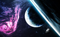 Abstract scientific background - planets in space, nebula and stars. Elements of this image furnished by NASA nasa.gov Stock Photo