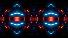 Abstract scifi tunnel mirrored with blue lights stock illustration