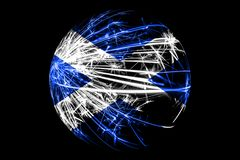 Abstract Scotland sparkling flag, Christmas ball concept isolated on black background royalty free illustration