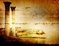 Abstract scratch ancient background. In scrapbooking style with ruins royalty free illustration