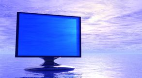 Abstract Screen. Computer screen with fantasy sky as background Royalty Free Stock Image