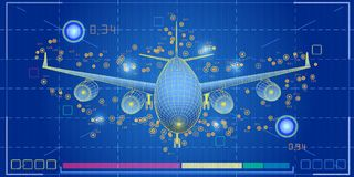 Abstract screen big data graph visualization. Airplaner infograp. Hics background. Scheme engineering data . For transport analytics, travel, tourism ect royalty free illustration