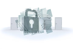 Abstract screen in room showing circuit board and lock Stock Photo