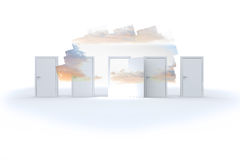 Abstract screen in room showing cloudy sky Stock Image