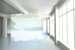 Abstract screen in room showing cloudy sky Royalty Free Stock Photo