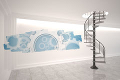 Abstract screen in room showing cogs and wheels Stock Images
