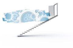 Abstract screen in room showing cogs and wheels Royalty Free Stock Image