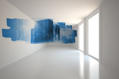 Abstract screen in room showing server towers Royalty Free Stock Images