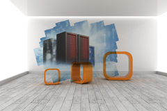 Abstract screen in room showing server towers Royalty Free Stock Photography