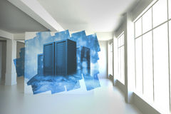 Abstract screen in room showing server towers Stock Photography
