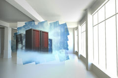 Abstract screen in room showing server towers Stock Photos